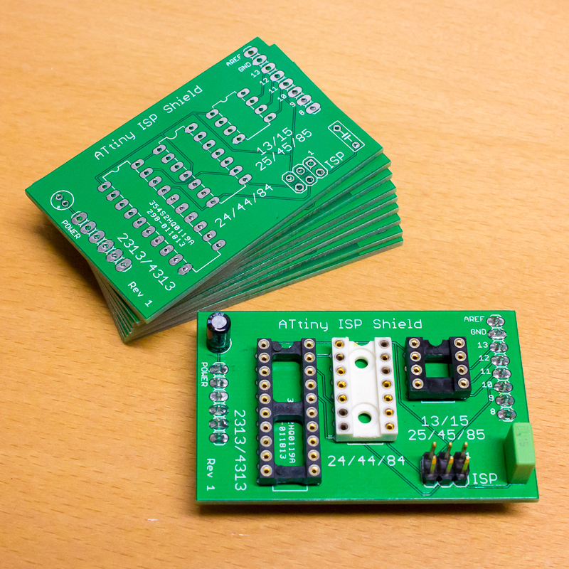 Raw ATtiny ISP Arduino Shields