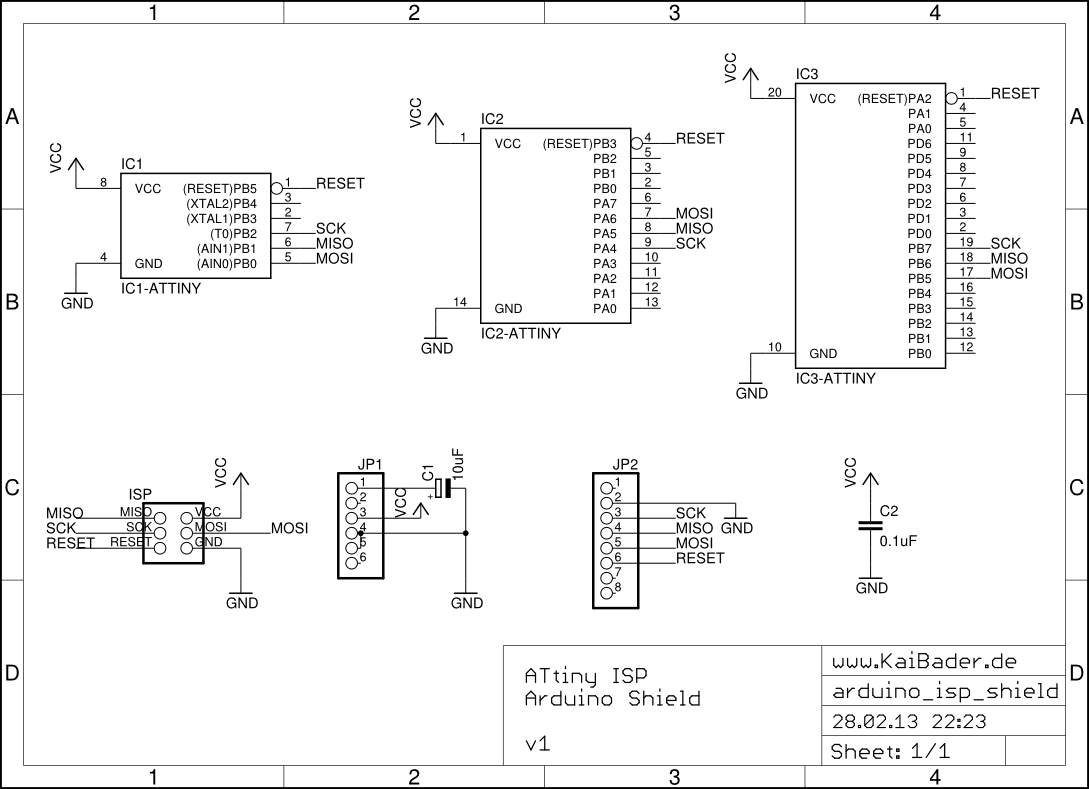 ATtiny ISP Arduino Shield Schematic
