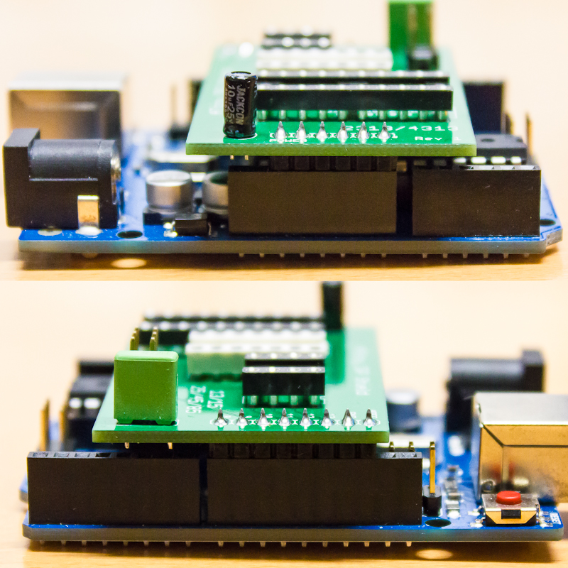 Left and right side of the Arduino ISP shield on an Arduino Uno. Two pins on each side were not added to the shield for backward compatibility to the Arduino Duemilanove.