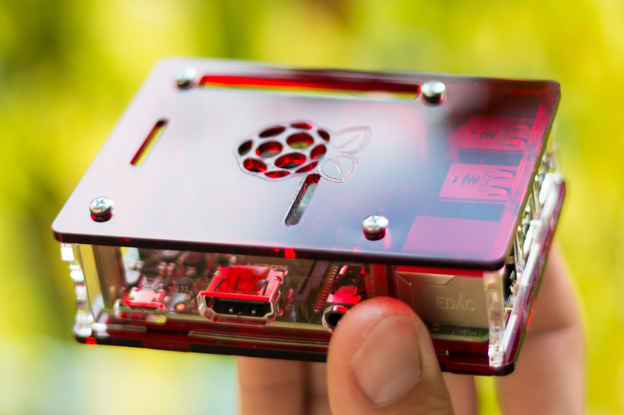 Raspberry Pi Model B+ in a raspberry colored case